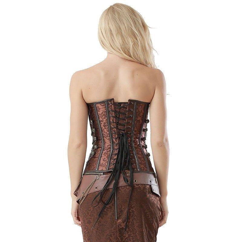 corset steampunk marron